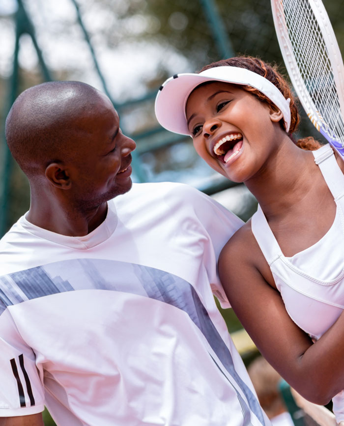 couple enjoying tennis after having gall bladder surgery in Jupiter Florida